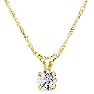 Miadora 14k Yellow Gold Diamond Solitaire Necklace