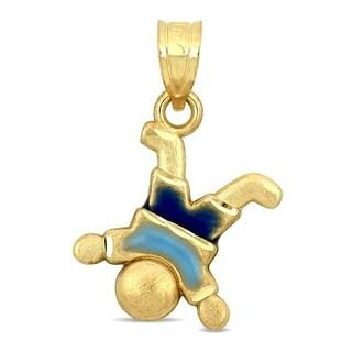 Miadora 14k Yellow Gold with Blue Enamel Children's Mischievous Boy Pendant