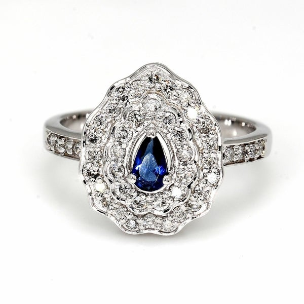 Shop Pompeii3 10k White Gold .75 Ct TDW Pear Shape Blue