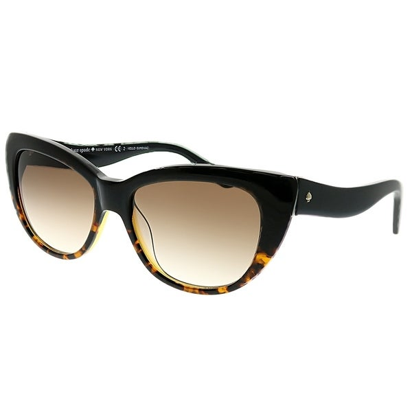34b47ae90c91 Kate Spade Cat-Eye Emalee PMG S8 Women Black Tortoise Fade Frame Brown  Gradient Lens