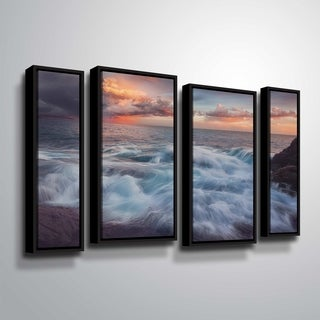 """ArtWall """"Delirium with Colors 2"""" 4 Piece Floater Framed Canvas Staggered Set"""