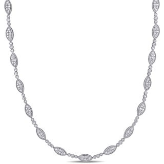 Miadora Sterling Silver 2ct TDW Diamond Marquise Cluster Station Necklace