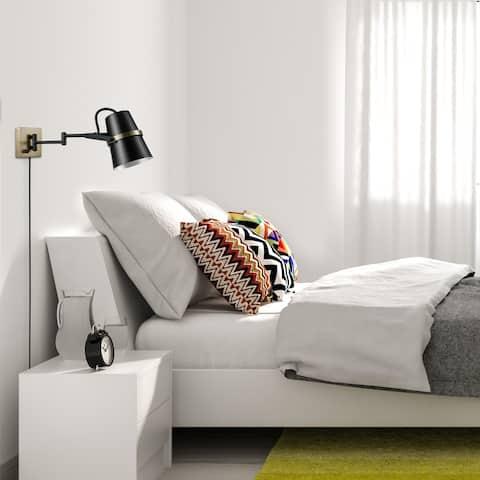 Porch & Den Bingo Matte Black 1-light Plug-in/Hardwire Swing Arm Wall Sconce