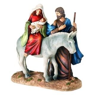 Resin holy family on donkey 10