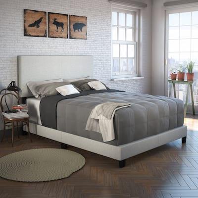 Sleep Sync Tivoli Cream Linen Upholstered Platform Bed Frame in four sizes