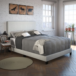 Sleep Sync Tivoli Cream Linen Upholstered Platform Bed Frame in four sizes