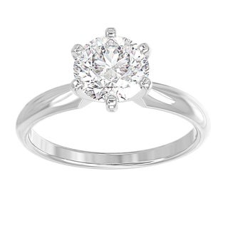 14K White Gold Diamond Solitaire Engagement Ring Round 1 2 CTTW Comfort Fit IGI Certified