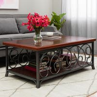 Gracewood Hollow Scrolled Metal and Wood Coffee Table