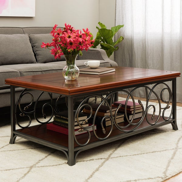 Shop Scrolled Metal And Wood Coffee Table Free Shipping