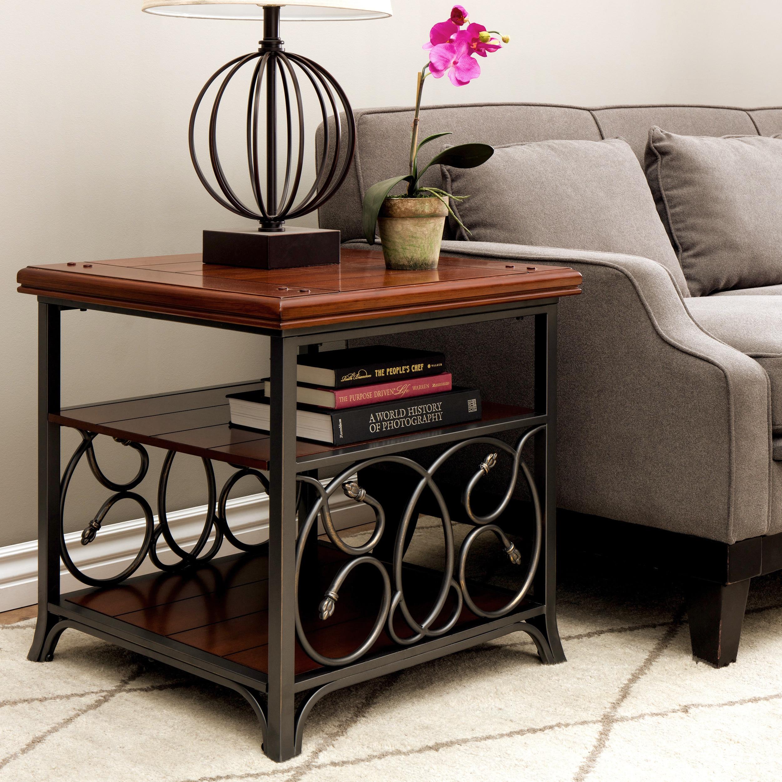 Scrolled Metal and Wood End Table, Brown