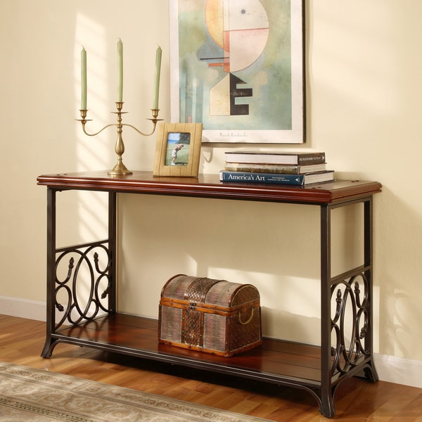 Gracewood Hollow Scrolled Metal And Wood Sofa Table
