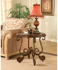 Antique Brass and Wood Nailhead Inlay End Table