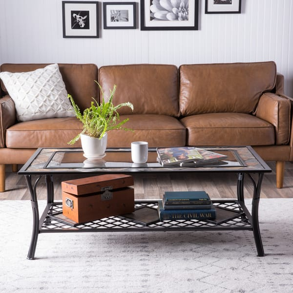 Phenomenal Shop Slate Glass Steel Coffee Table Free Shipping Today Ibusinesslaw Wood Chair Design Ideas Ibusinesslaworg