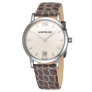 Mont Blanc Women's 'Star Classique' Mother Of Pearl Dial Brown Leather Strap Swiss Quartz Watch
