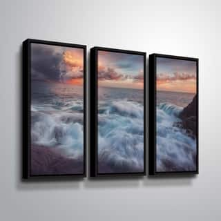 """ArtWall """"Delirium with Colors 2"""" 3 Piece Floater Framed Canvas Set"""
