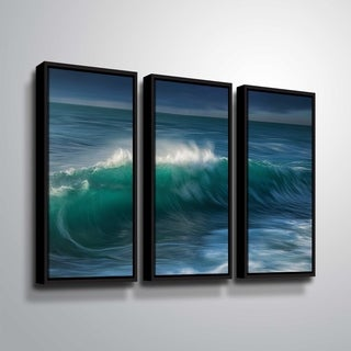 "ArtWall ""Wave"" 3 Piece Floater Framed Canvas Set"
