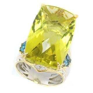 Michael Valitutti Palladium Silver Ouro Verde & London Blue Topaz Elongated Ring