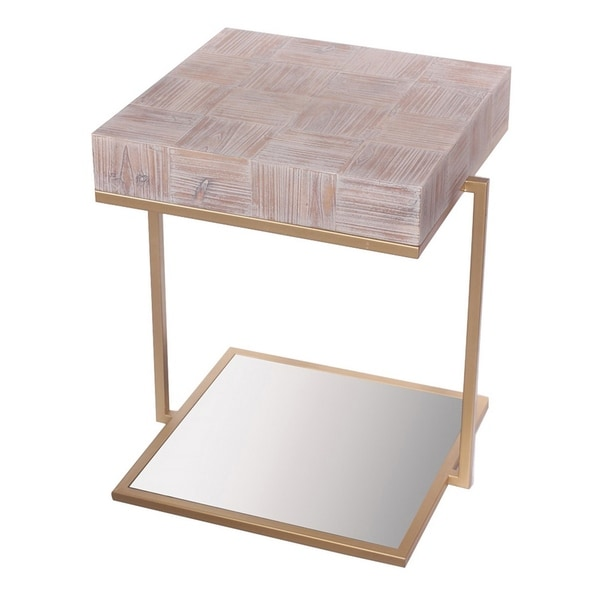Three Hands Wood/Metal 22.75-inch Mirrored Table