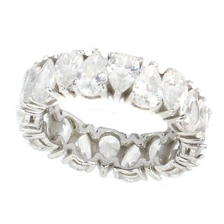 Michael Valitutti Sterling Silver Pearshaped Cubic Zirconia Band Ring