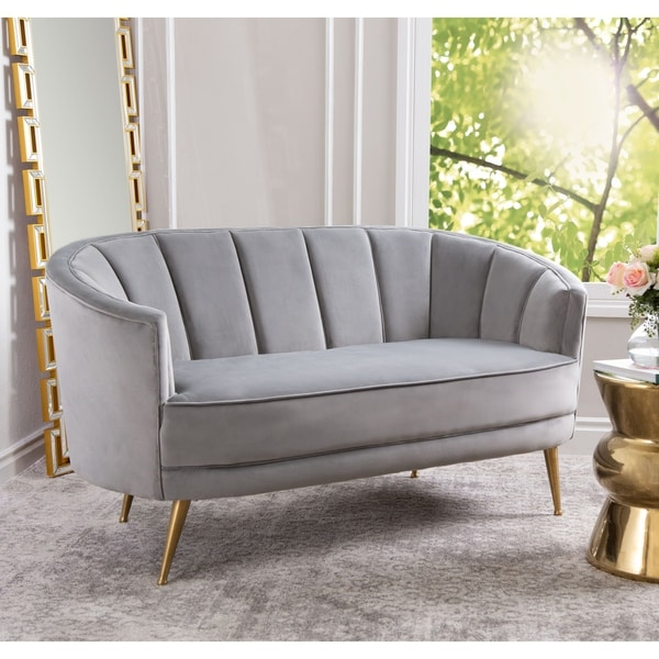 Abbyson Livi Grey Channel Tufted Velvet Sofa