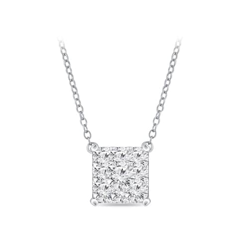 14k Gold Square Shaped 0.06ct TDW Pave Diamond Necklace by Auriya