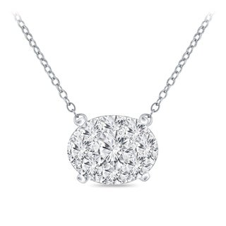 14k Gold Oval Shaped 3 8ct TDW Pave Diamond Necklace By Auriya
