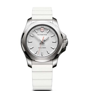 Victorinox I.N.O.X. White Dial Rubber-Silicone Strap Women's Watch 241769