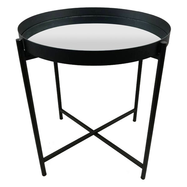 """17"""" Metal Mirrored Tray Table By Three Hands"""