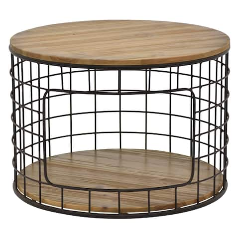 Three Hands Black/Natural Metal/Wood 17.25-inch Side Table