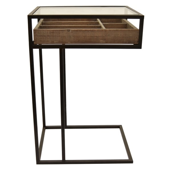 Three Hands Brown Metal/Wood Accent Table