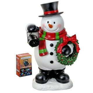 "27"" Resin snowman w/laser light show machine"""