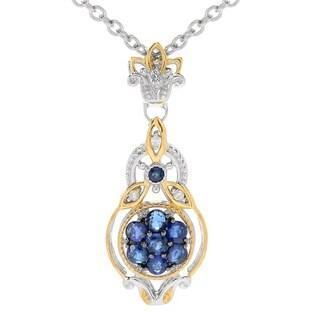 Michael Valitutti Palladium Blue Sapphire Diamond Cluster Pendant