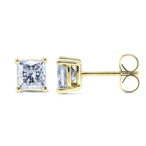 Annello by Kobelli 14k Gold 1 Carat CTW Moissanite Princess Stud Earrings