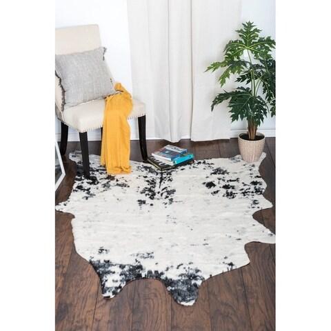 Carbon Loft Elsie White and Black Soft Faux Cow Hide Area Rug - 5' x 6'6
