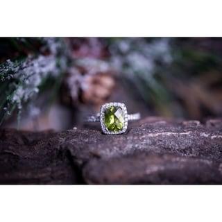 Auriya 1 7 8ct Cushion Cut Peridot And Halo Diamond Engagement Ring 3 8ctw 14k Gold