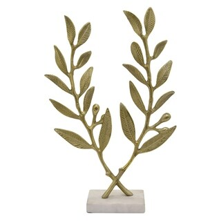 """20.25"""" Metal Leaf With Marble Base By Three Hands"""