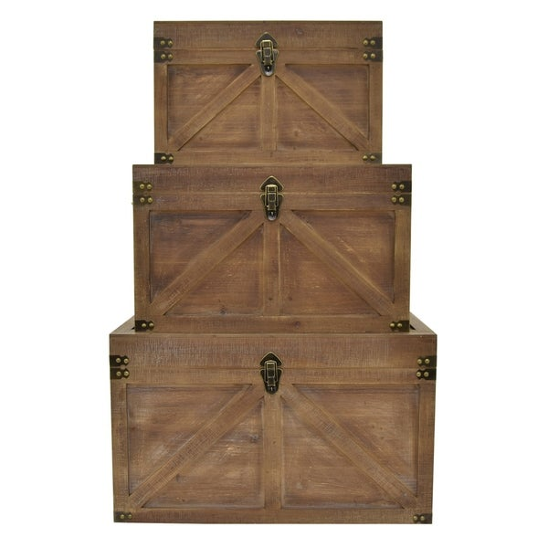 """16"""" Set Of Three Wood Trunks By Three Hands - l : 27x16x16 m : 23x13x14 s : 19x11x12"""