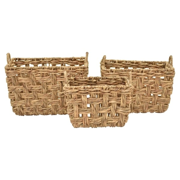 "14"" Set Of Three Water Hyacinth Baskets By Three Hands"