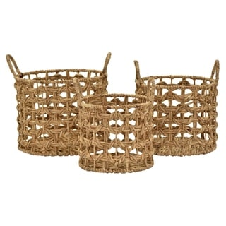 """17.5"""" Set Of Three Water Hyacinth Baskets By Three Hands"""