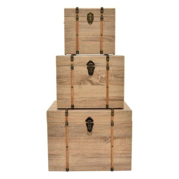 """14.5"""" Set Of Three Wood Trunks By Three Hands - l 19.5x14x14.5 m 16x12x12 s 12x10x10.5"""