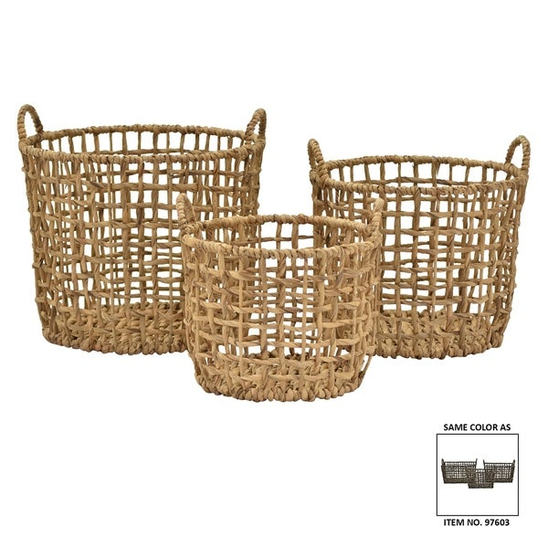 "16.5"" Set Of Three Water Hyacinth Baskets By Three Hands"