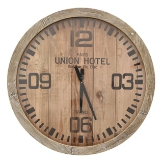 Three Hands Brown Wood 30-Inch Round Wall Clock