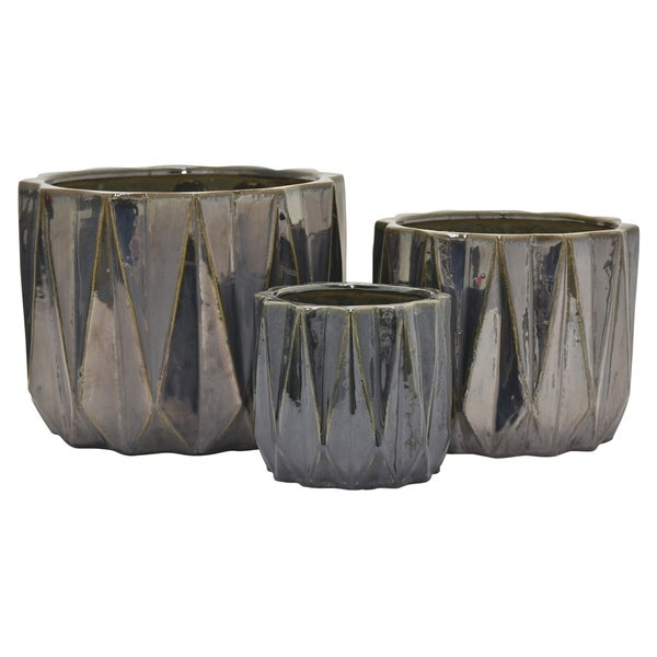 "10.25"" Set Of Three Ceramic Planters By Three Hands"