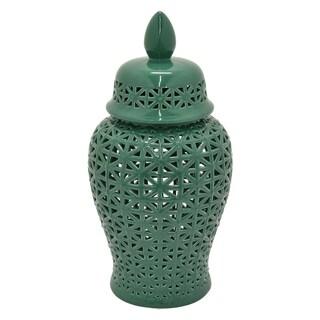 Three Hands Green Ceramic 25-inch Pierced Jar