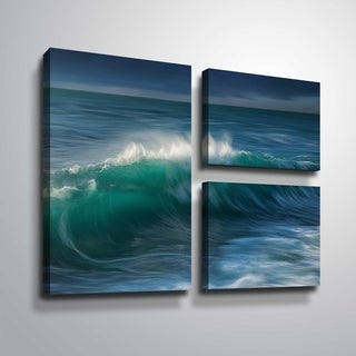 "ArtWall ""Wave"" 3 Piece Gallery Wrapped Canvas Flag Set"