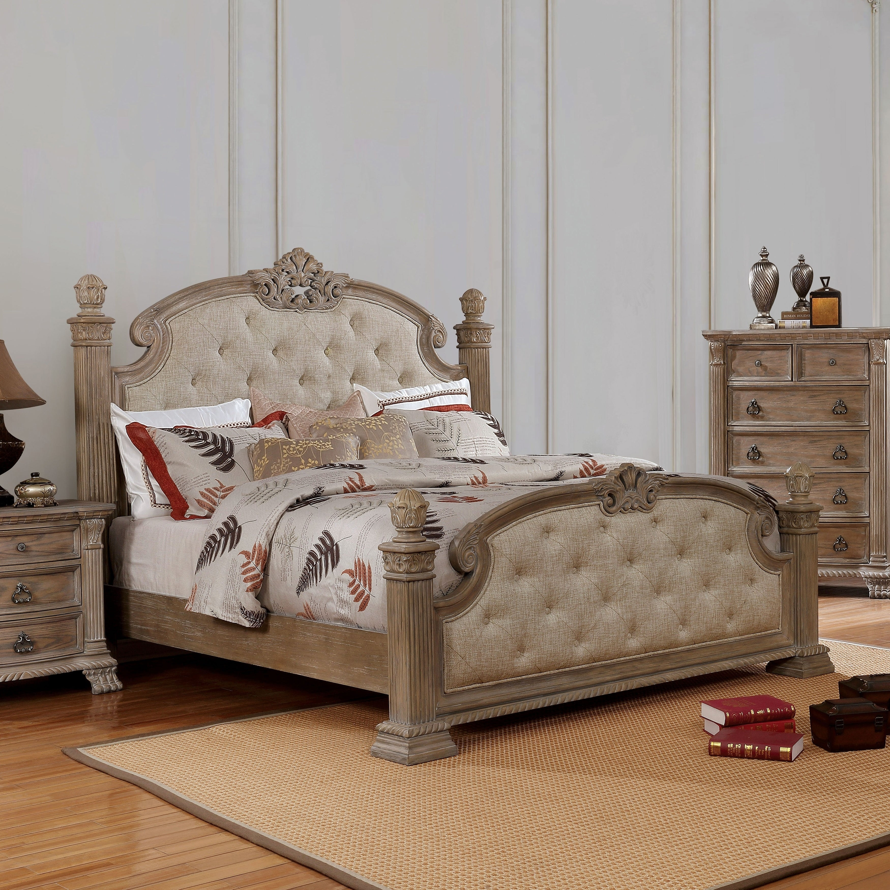 online store 76e1c 3bce3 Etienne Traditional Rustic Natural Tufted Carved Bed by FOA
