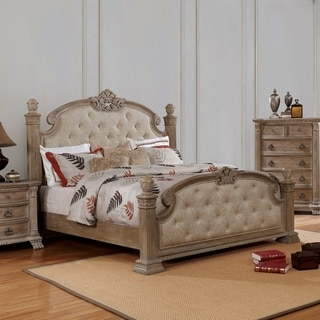 Furniture of America Jaza Traditional Beige Solid Wood Panel Bed