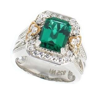 Michael Valitutti Palladium Silver Created Emerald & Cubic Zirconia Ring