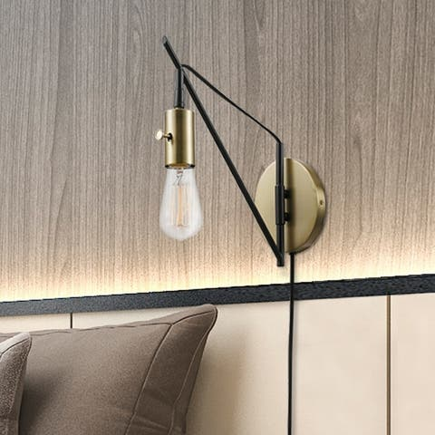 Porch & Den Ashdale Bronze 1-light Plug-in or Hardwire Swing Arm Wall Sconce