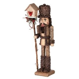 """15.5"""" Resin woodsy nutcracker w/birdhouse"""